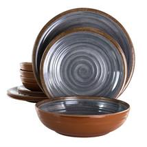 Elama Stone Oak 12 Piece Lightweight Melamine Dinnerware Set in Black - $45.16
