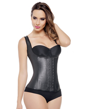Ann Michell Full Vest Latex Waist Cincher 48 Black - $45.36