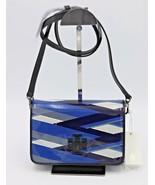 Tory Burch Britten Blue Printed Patent Combo Crossbody Shoulder Bag Clutch - $372.80
