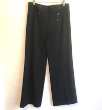 Ann Taylor Loft Womens 10 Marisa Career Dress Pants Black Wide Leg Trous... - $24.09