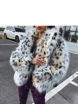 Women's Fashion notched Collar Lynx Pattern Faux fur coat image 2