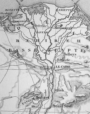1846 MAP - ISRAEL Upper Egypt Delta of Nile River Sinai Peninsula
