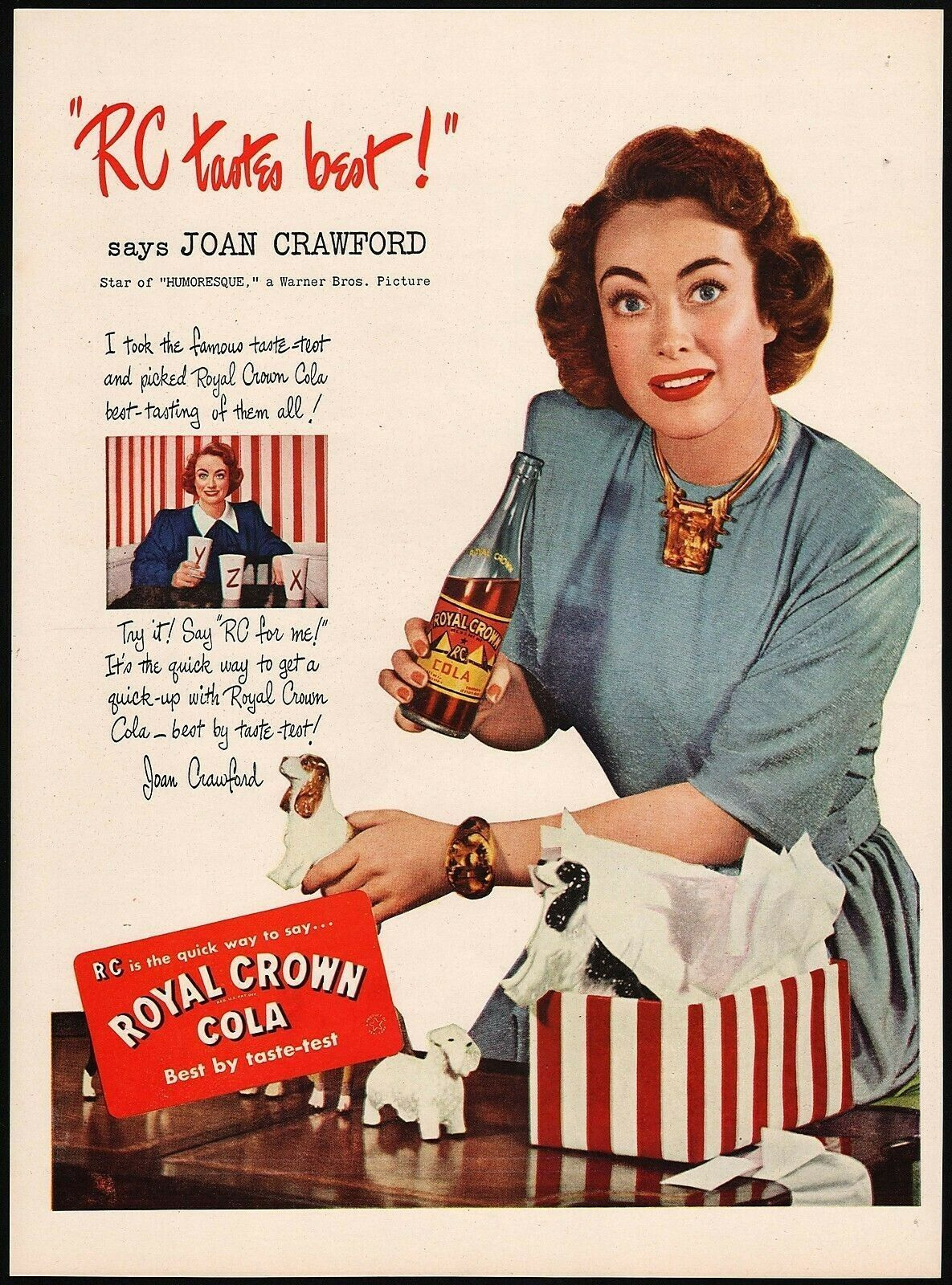Vintage magazine ad ROYAL CROWN COLA from 1947 with Joan Crawford in Humoresque - $13.49