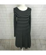 Old Navy Shirt Dress Stretch Long Sleeve Black White Thin Stripes Womens... - $14.80