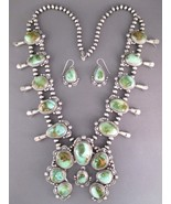 Navajo Natural Royston Turquoise SQUASH BLOSSOM NECKLACE Earring Set T F... - $4,425.00