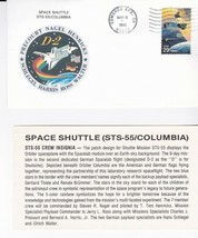STS-55 COLUMBIA D-2 EDWARDS AFB CA MAY 6 1993 WITH INSERT CARD - $1.78