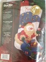 "Bucilla Musical Snow Santa Stocking Felt Applique Christmas Kit 18"" - $39.59"