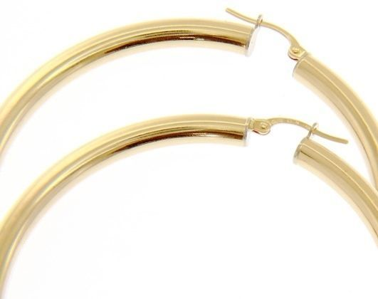 18K YELLOW GOLD ROUND CIRCLE HOOP EARRINGS DIAMETER 50 MM x 4 MM, MADE IN ITALY