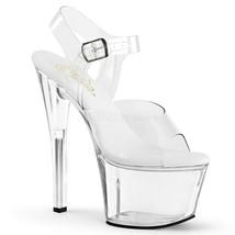 "PLEASER Sexy Exotic Dancer Clear 7"" High Heels Platform Vegan Stripper Shoes - $45.95"
