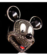 Judith Jack Brooch - BIG sterling mickey mouse pin - marcasite and enamel  - $225.00
