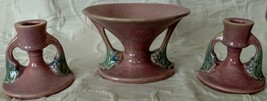 """ROSEVILLE Pottery """"Tuscany Pink"""" Compote # 67-4 w/matching C-Stick Set 1033 - $233.75"""
