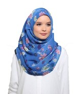 BOKITTA DAISIES BLUE - PRINTED SMOOTH CHIFFON INSTANT HIJAB Muslim Scarf... - $55.62+