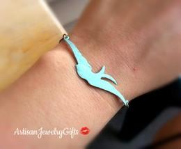 Turquoise Sparrow Bracelet Turquoise Patina Sparrow Bracelet Patina Bird... - $27.00