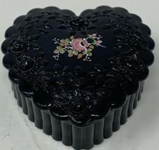 Fenton Glass Trinket Box Hand Painted Amethyst Black By M. Reynolds (19-... - $36.05