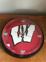 Gently Used WinCraft University of Wisconsin Bucky Badger Plastic Wall Clock Run - $19.39