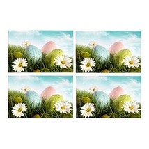 InterestPrint Happy Easter Decoration Easter Eggs with Daisies Washable ... - $30.68