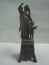 Antique  Sculpture Statue Figurine guardian angel and a child in bronze - $27.69
