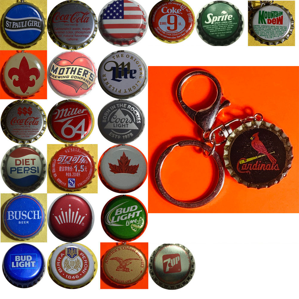 St. Louis Cardinals Baseball Coke Sprite Diet pepsi more Soda beer cap Keychain
