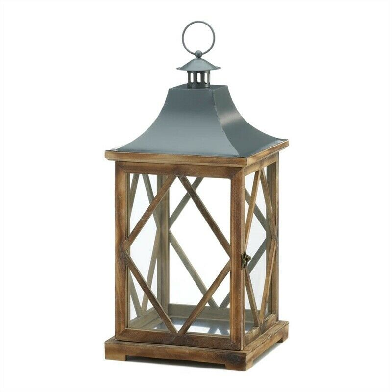 Large Wooden Diamond Lattice Candle Lantern