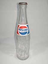 1987 Mexico Pepsi Bottle ACL Globe Logo 355ml Clear Glass Soda Pop Lid ETVB - $6.11