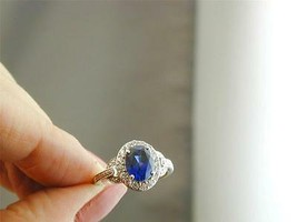 STUNNING Designer Signed Sterling CZ Created Sapphire Ring 7.25 NWOT - $79.99