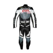 HONDA CBR GRAY MOTORBIKE MOTORCYCLE BIKER COWHIDE LEATHER ARMOURED 2 PIE... - $339.99
