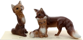 Hagen-Renaker Miniature Ceramic Figurine Fox Baby, Mama & Papa 3 Piece Set