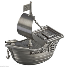 Silver Pirate Ship Metal Money Bank Antique Style Pewter Finish - $32.66