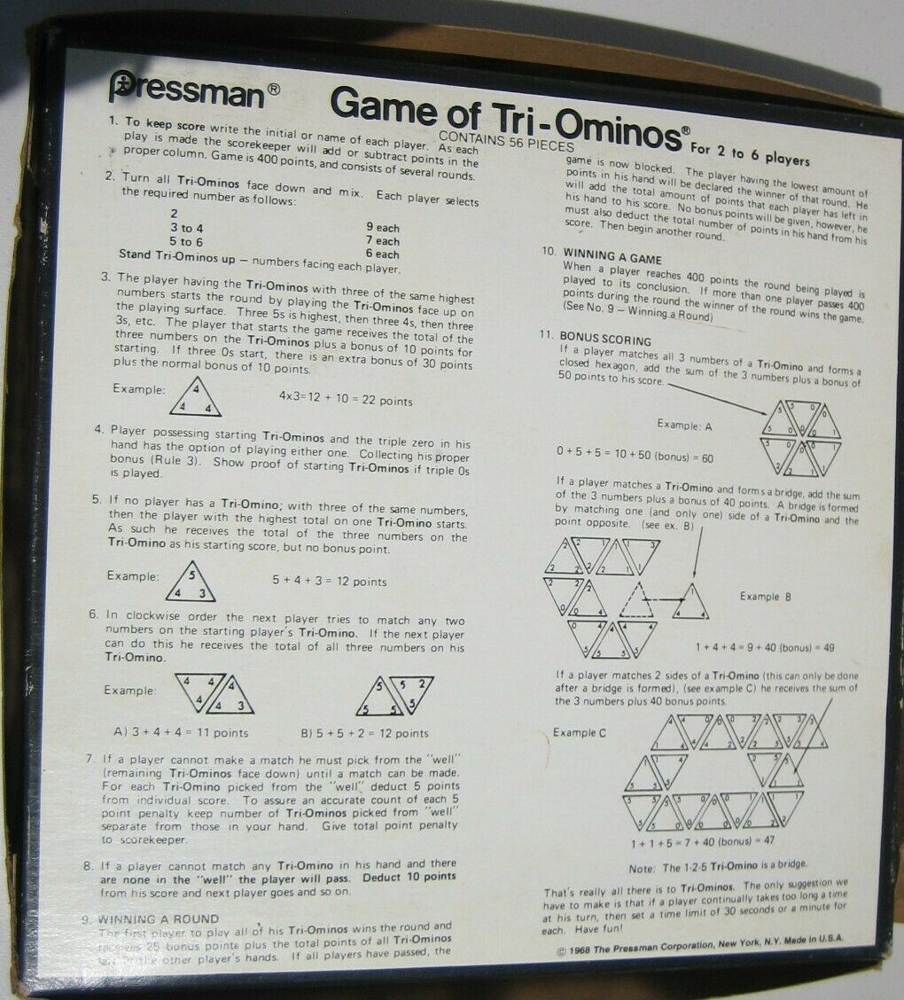 1968 Pressman Tri-Ominos THE TRIANGLE GAME 4420 Triominoes Family Fun Clean