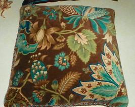 Brown Beige Green Flower Print Decorative Print Throw Pillow  18 x 18 - $39.95
