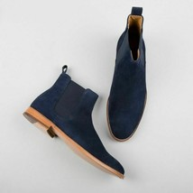 Handmade Men's Blue Suede High Ankle Chelsea Boot  image 4