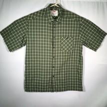 Levis Men's Sz. Large Button Checkered Shirt Green Short Sleeve - £15.72 GBP