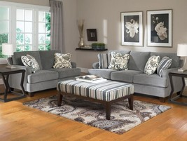 CONOLLY-Modern Steel Tone Fabric Sofa Couch & Loveseat Set Living Room Furniture