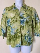 Dressbarn Women Size XL Green Floral Tropical Shirt Beaded  - $12.57