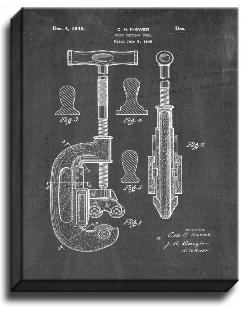 Primary image for Pipe Cutting Tool Patent Print Chalkboard on Canvas