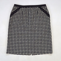 "TALBOTS Soft Black & White Embroidered Wool Knit Pencil Mid Calf Skirt 30"" Waist - $19.79"
