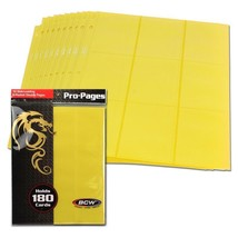 10 BCW GAMING SIDE LOADING 18-POCKET PRO BINDER PAGES - MTG - YELLOW - $5.99