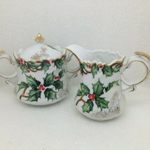 Vintage Lefton Holly Garland Creamer Sugar Bowl Lid NE1965 Christmas Gol... - $29.09