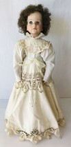 Tall Doll Manon OOAK Gorgeous Lace Trimmed Dress Porcelain & Cloth + Stand - $77.39