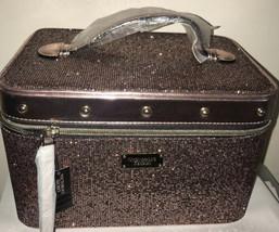 Victoria's Secret Glitter Mesh Runway Vanity Train Case Makeup Cosmetic Bag Pink - $64.32