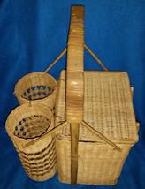 Sweetheart Wood Wicker Dual Wine Bottle Picnic Basket - €13,13 EUR