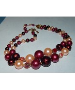 Coro Signed Double Strand Pinks and Purples Faux Pearl 1950s Era Necklace - $19.99