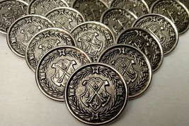 Crossed Rifle Silver Metal Button Vtg Military Uniform Army Jacket Large Sew Lot - $46.74