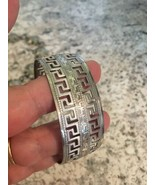AZTEC vtg ENGRAVED cut out  silvertone METAL CUFF BRACELET  - $19.75