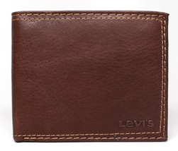 NEW LEVI'S MEN'S PREMIUM LEATHER CREDIT CARD ID WALLET BILLFOLD BROWN 31LV1344