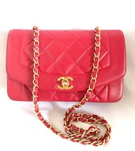Vintage CHANEL lipstick red lambskin classic 2.55 flap chain shoulder ba... - $3,478.86 CAD