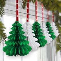 Honeycomb Xmas Trees Tissue Paper Tree Table Centerpiece Hanging Decorat... - $18.02