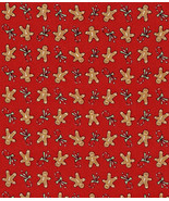 Quilt Fabric,1 Fat Quarter, Moda Tiny Gingerbread, Candy Canes on Red,Cu... - $2.31