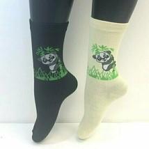 2 PAIRS Foozys Women's Socks, Panda Print, Cream, Black, NEW - $8.99