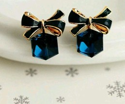 Fashion Lovely Blue lady bow Crystal cubic ear stud Earring gift For lov... - $8.75